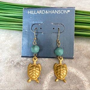 Hillard & Hanson sea turtle earrings, gold tone
